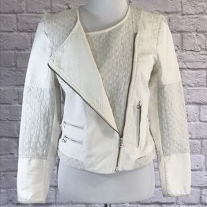 Zara cream cotton moto jacket, zipper detail, L
